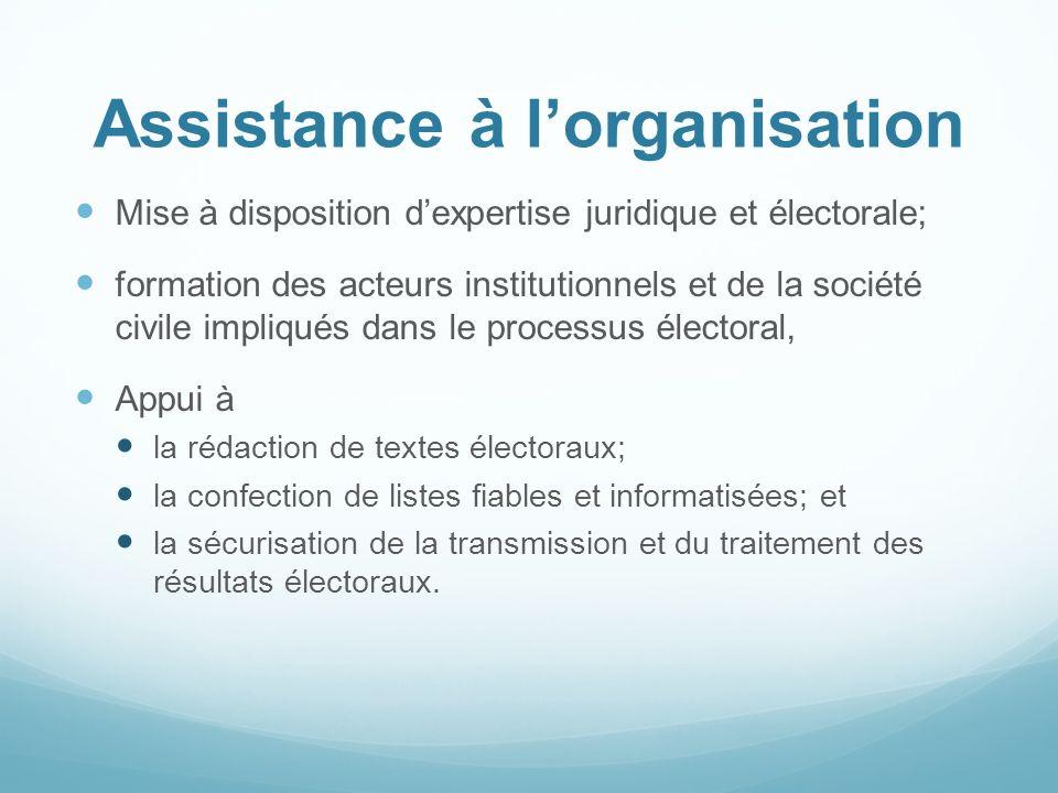 Assistance à lorganisation Mise à disposition dexpertise juridique et électorale; formation des acteurs institutionnels et de la société civile impliq