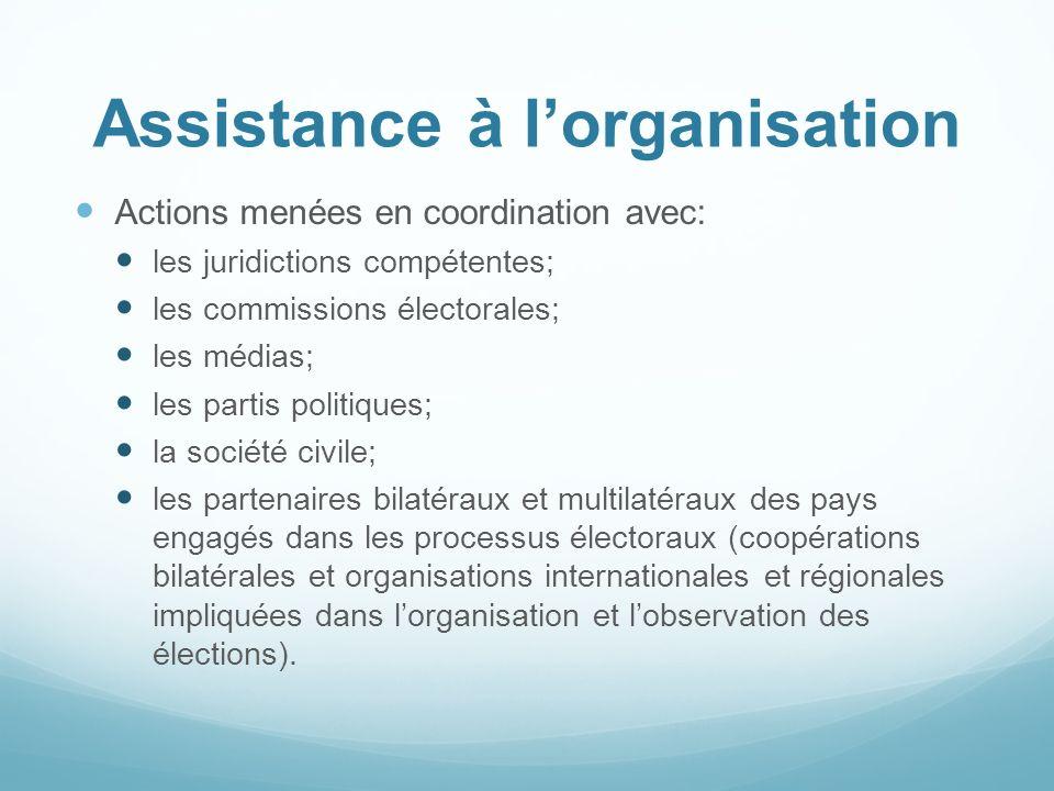 Assistance à lorganisation Actions menées en coordination avec: les juridictions compétentes; les commissions électorales; les médias; les partis poli