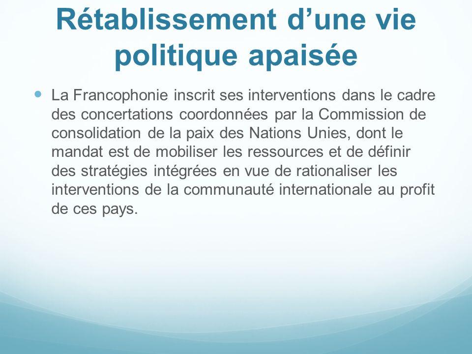 Rétablissement dune vie politique apaisée La Francophonie inscrit ses interventions dans le cadre des concertations coordonnées par la Commission de c