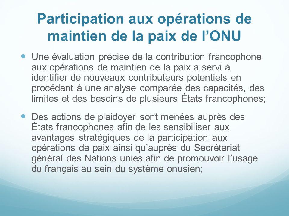 Participation aux opérations de maintien de la paix de lONU Une évaluation précise de la contribution francophone aux opérations de maintien de la pai