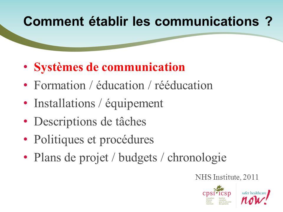 Comment établir les communications .