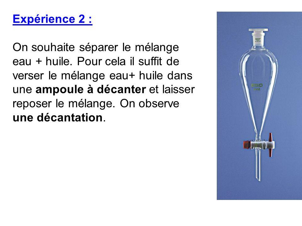 Expérience 2 : On souhaite séparer le mélange eau + huile. Pour cela il suffit de verser le mélange eau+ huile dans une ampoule à décanter et laisser