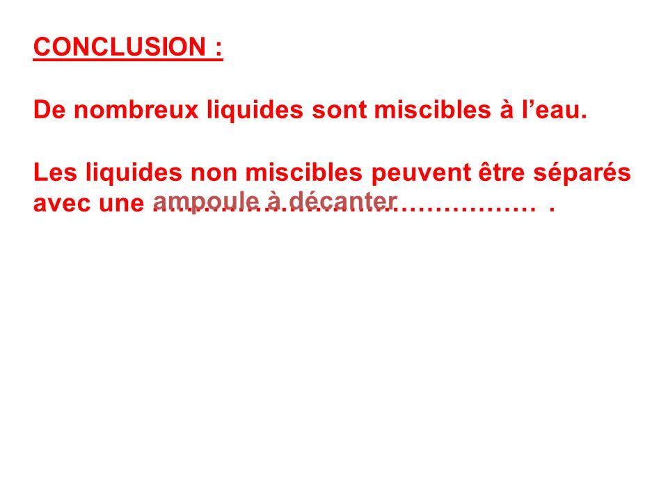 CONCLUSION : De nombreux liquides sont miscibles à leau. Les liquides non miscibles peuvent être séparés avec une ………………………………………. ampoule à décanter