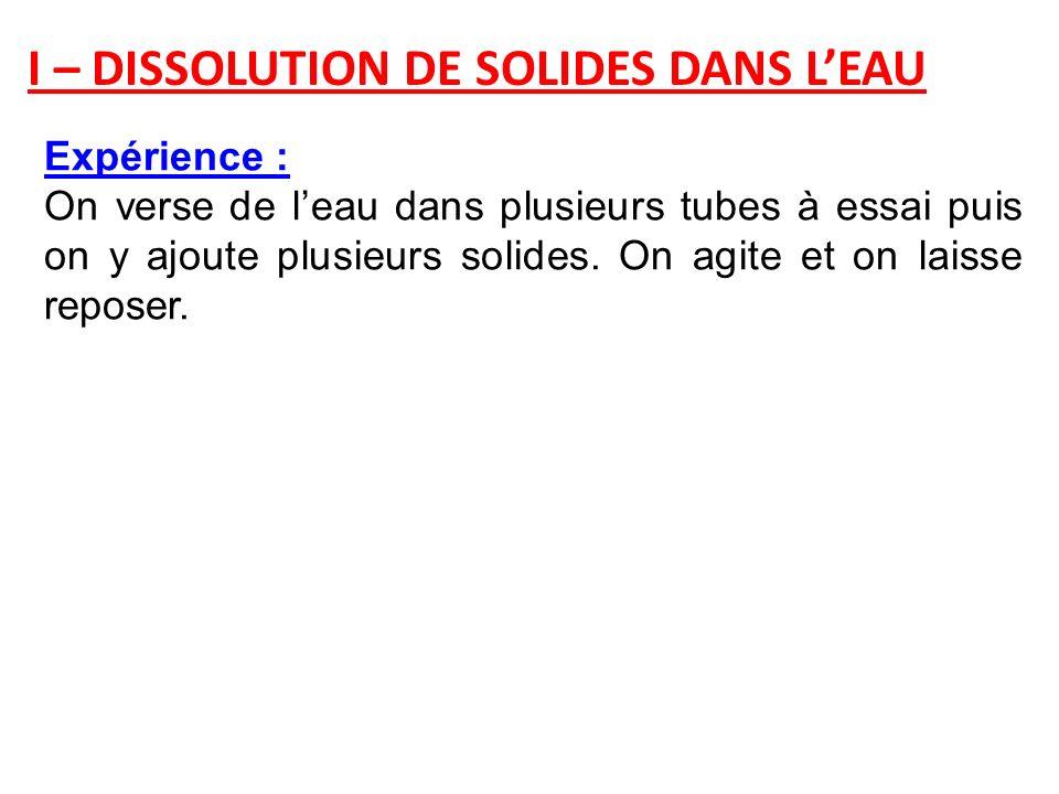 I – DISSOLUTION DE SOLIDES DANS LEAU Expérience : On verse de leau dans plusieurs tubes à essai puis on y ajoute plusieurs solides. On agite et on lai