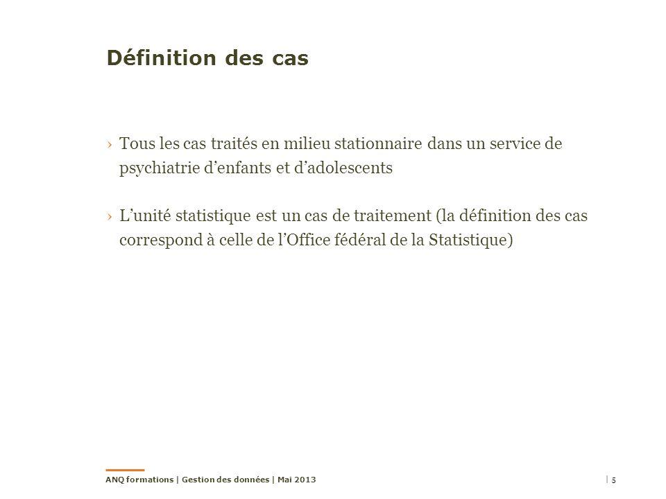 Définition des cas Tous les cas traités en milieu stationnaire dans un service de psychiatrie denfants et dadolescents Lunité statistique est un cas de traitement (la définition des cas correspond à celle de lOffice fédéral de la Statistique) | 5ANQ formations | Gestion des données | Mai 2013