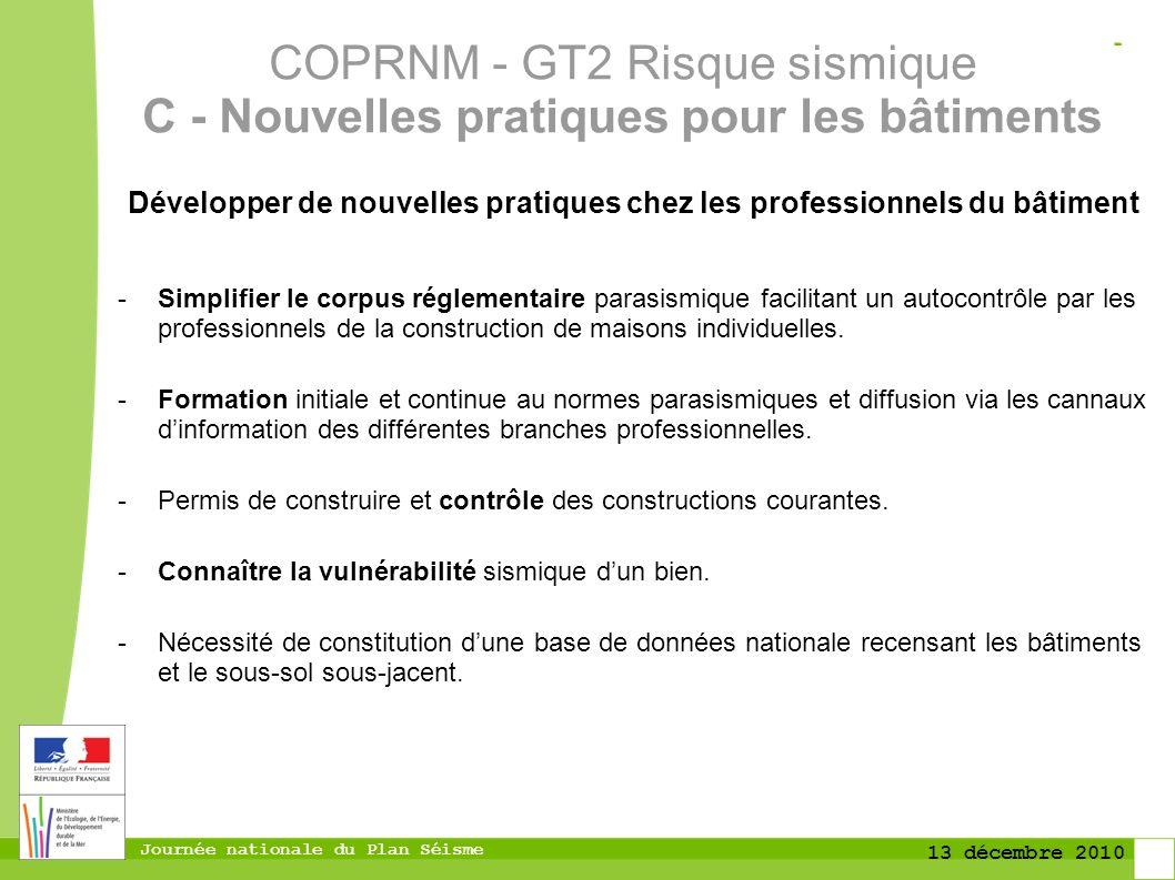 Journée nationale du Plan Séisme 13 décembre 2010 Développer de nouvelles pratiques chez les professionnels du bâtiment -Simplifier le corpus réglemen