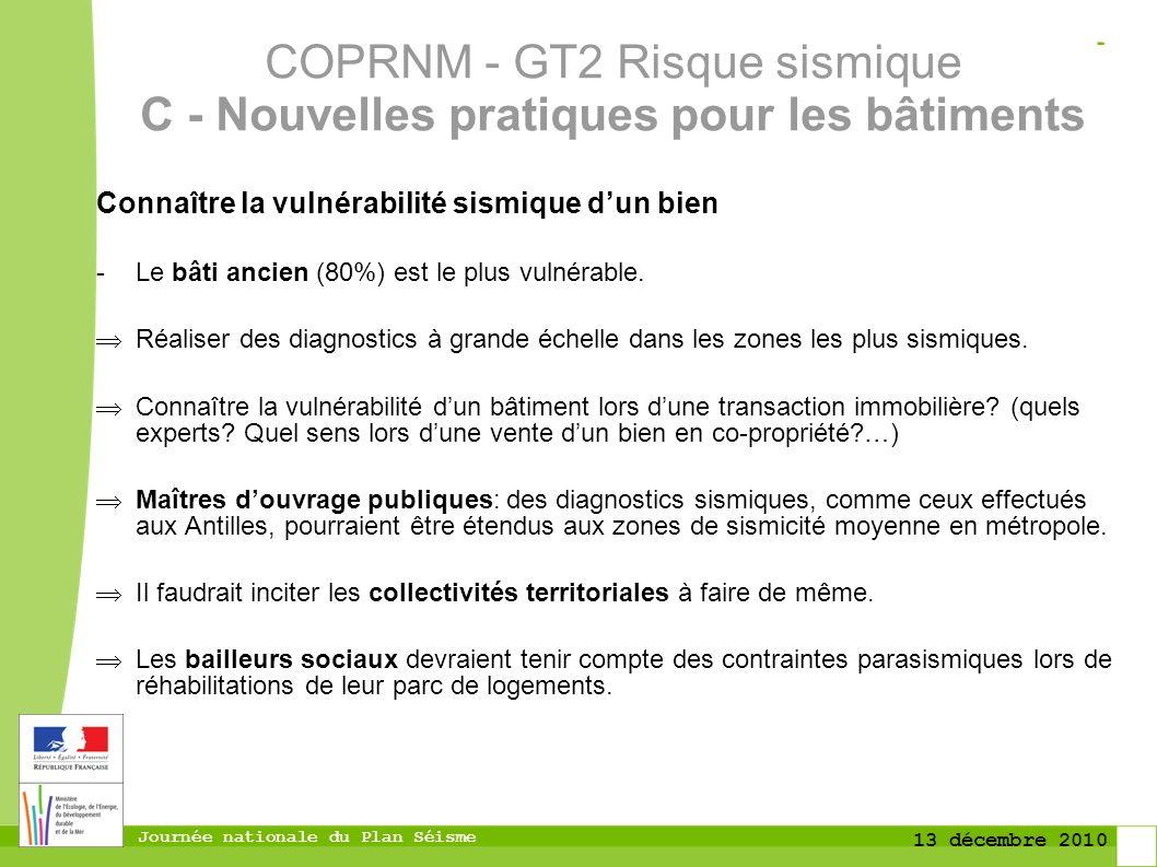 Journée nationale du Plan Séisme 13 décembre 2010 Connaître la vulnérabilité sismique dun bien -Le bâti ancien (80%) est le plus vulnérable. Réaliser