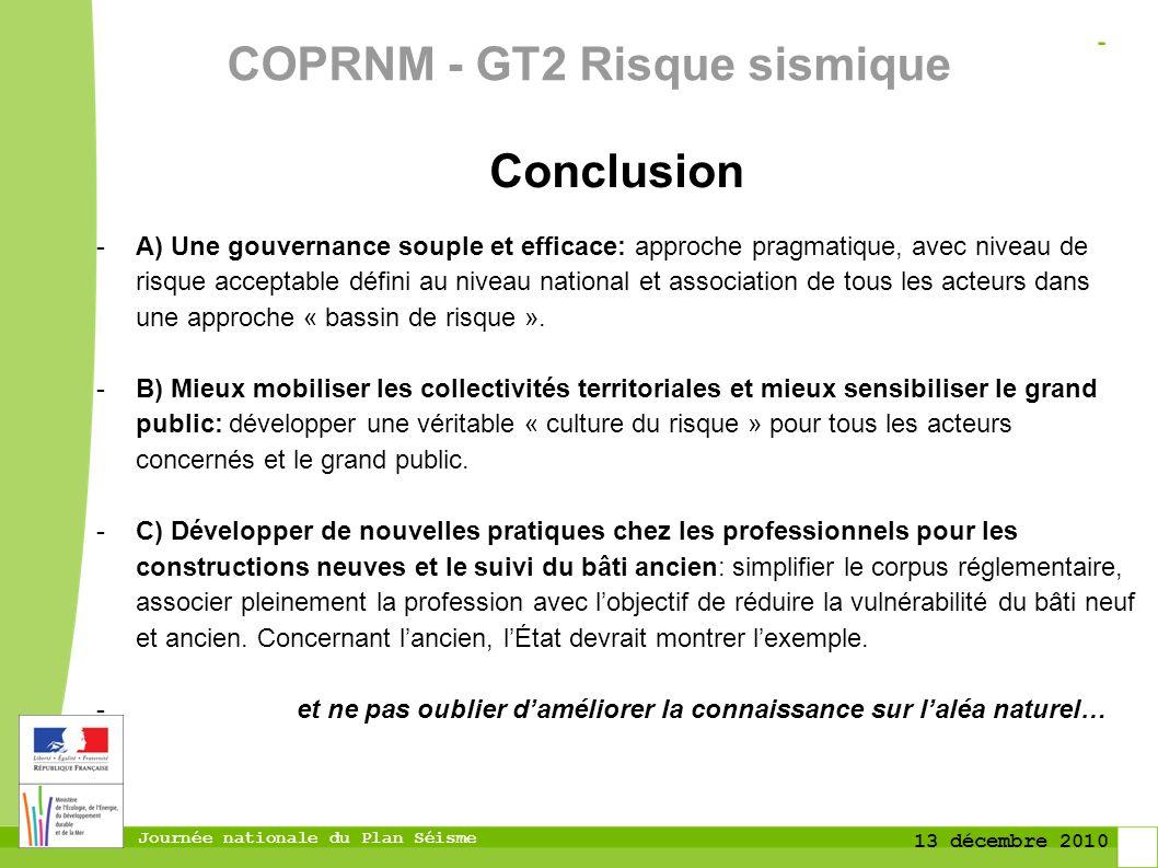 Journée nationale du Plan Séisme 13 décembre 2010 Conclusion -A) Une gouvernance souple et efficace: approche pragmatique, avec niveau de risque accep