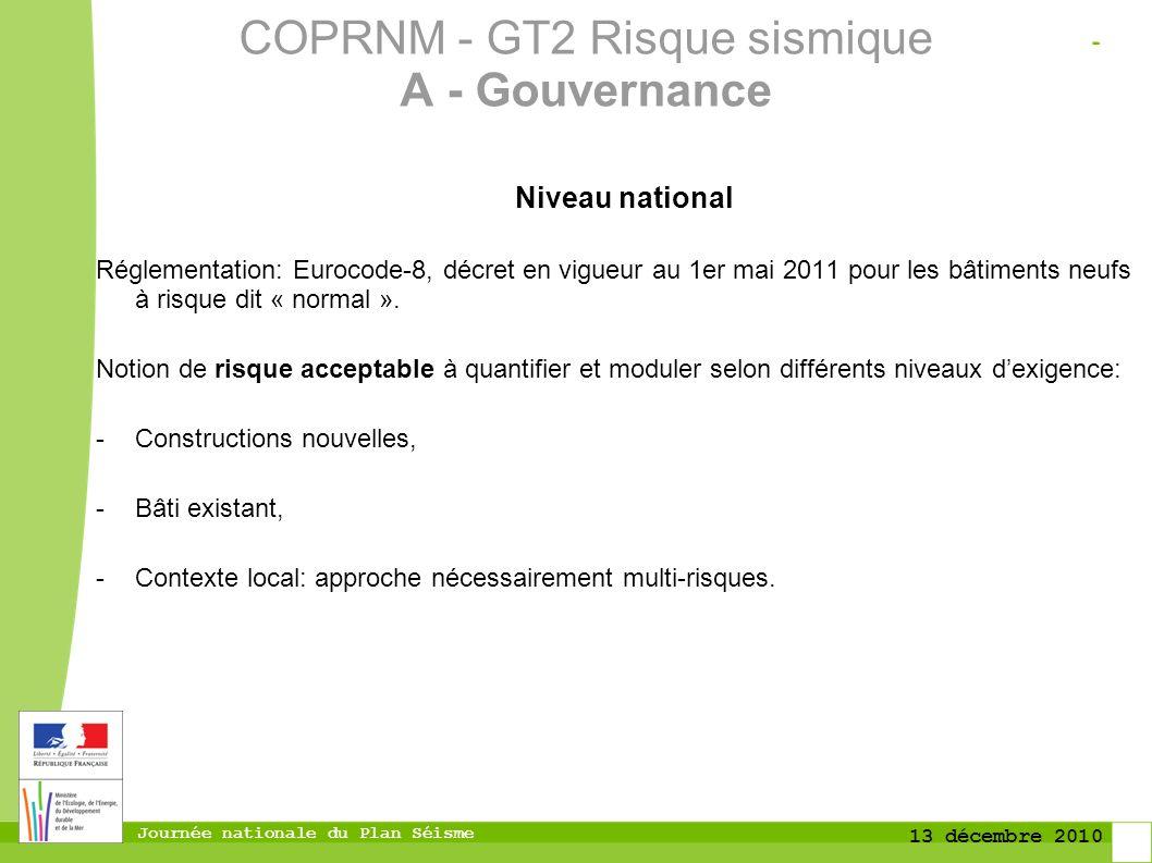 Journée nationale du Plan Séisme 13 décembre 2010 Niveau national Réglementation: Eurocode-8, décret en vigueur au 1er mai 2011 pour les bâtiments neu