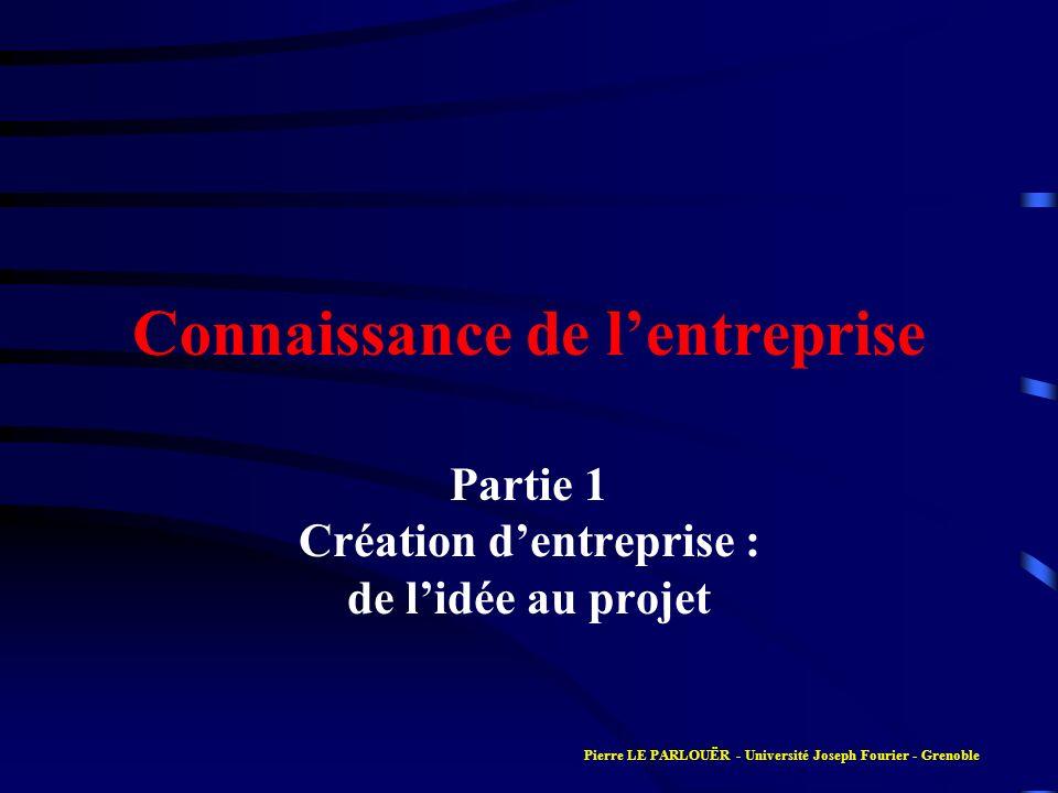 Connaissance de lentreprise Partie 1 Création dentreprise : de lidée au projet Pierre LE PARLOUËR - Université Joseph Fourier - Grenoble