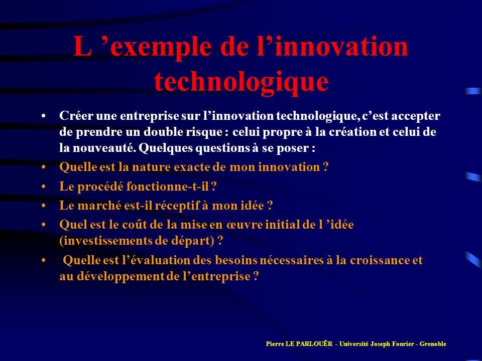 L exemple de linnovation technologique Créer une entreprise sur linnovation technologique, cest accepter de prendre un double risque : celui propre à