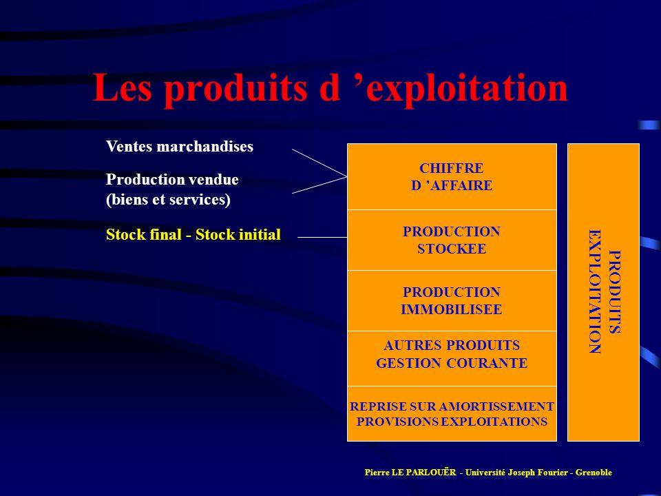Les produits d exploitation PRODUITS EXPLOITATION CHIFFRE D AFFAIRE PRODUCTION STOCKEE PRODUCTION IMMOBILISEE AUTRES PRODUITS GESTION COURANTE REPRISE