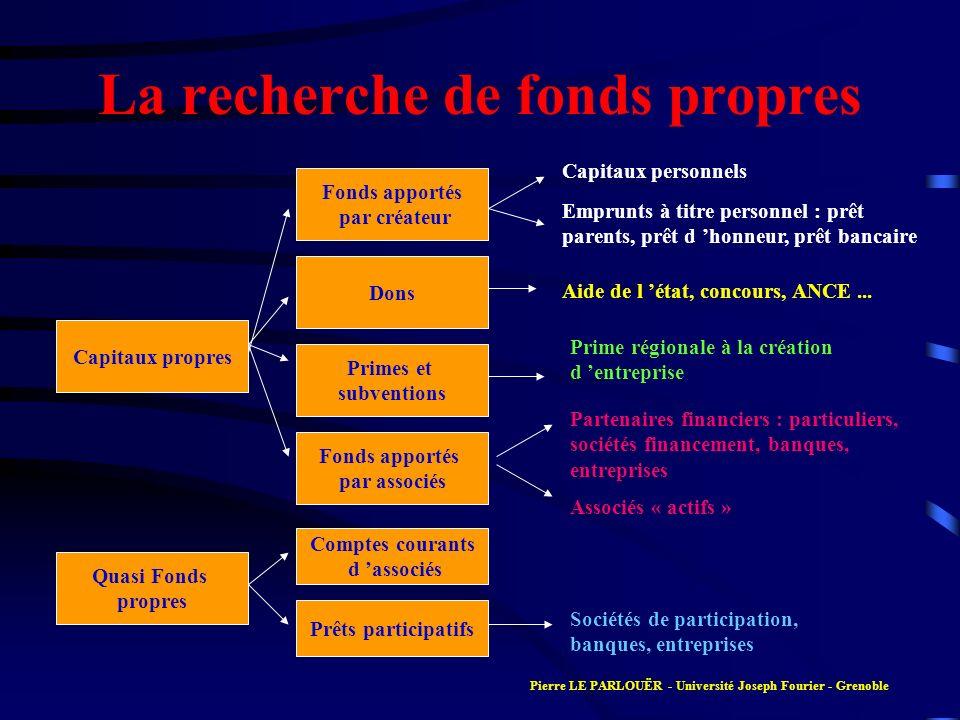 La recherche de fonds propres Capitaux propres Fonds apportés par créateur Dons Primes et subventions Fonds apportés par associés Quasi Fonds propres