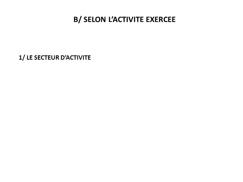B/ SELON LACTIVITE EXERCEE 1/ LE SECTEUR DACTIVITE