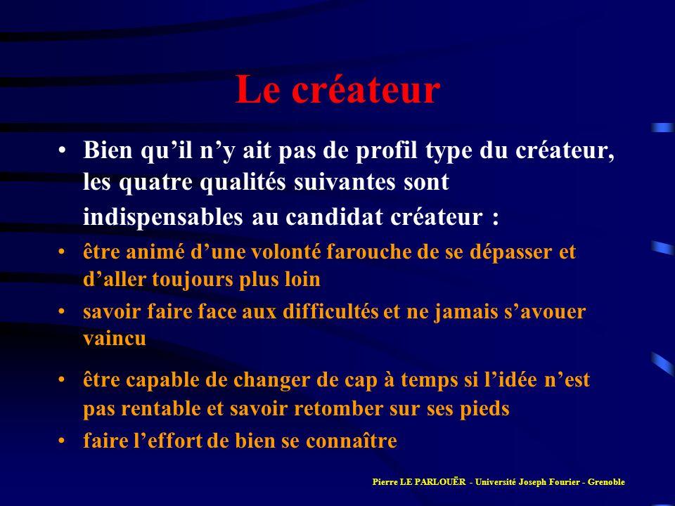 Le créateur Bien quil ny ait pas de profil type du créateur, les quatre qualités suivantes sont indispensables au candidat créateur : être animé dune