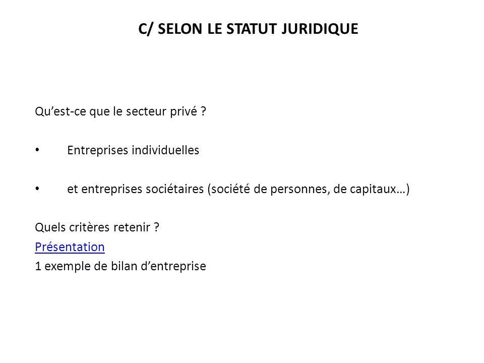 C/ SELON LE STATUT JURIDIQUE Quest-ce que le secteur privé ? Entreprises individuelles et entreprises sociétaires (société de personnes, de capitaux…)