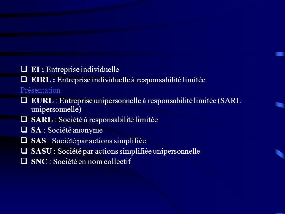 EI : Entreprise individuelle EIRL : Entreprise individuelle à responsabilité limitée Présentation EURL : Entreprise unipersonnelle à responsabilité li