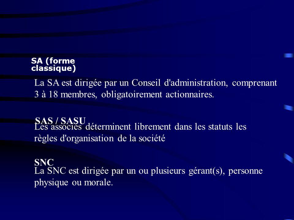 SA (forme classique) La SA est dirigée par un Conseil d'administration, comprenant 3 à 18 membres, obligatoirement actionnaires. SAS / SASU Les associ