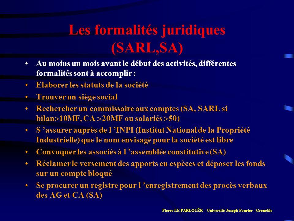 Les formalités juridiques (SARL,SA) Au moins un mois avant le début des activités, différentes formalités sont à accomplir : Elaborer les statuts de l