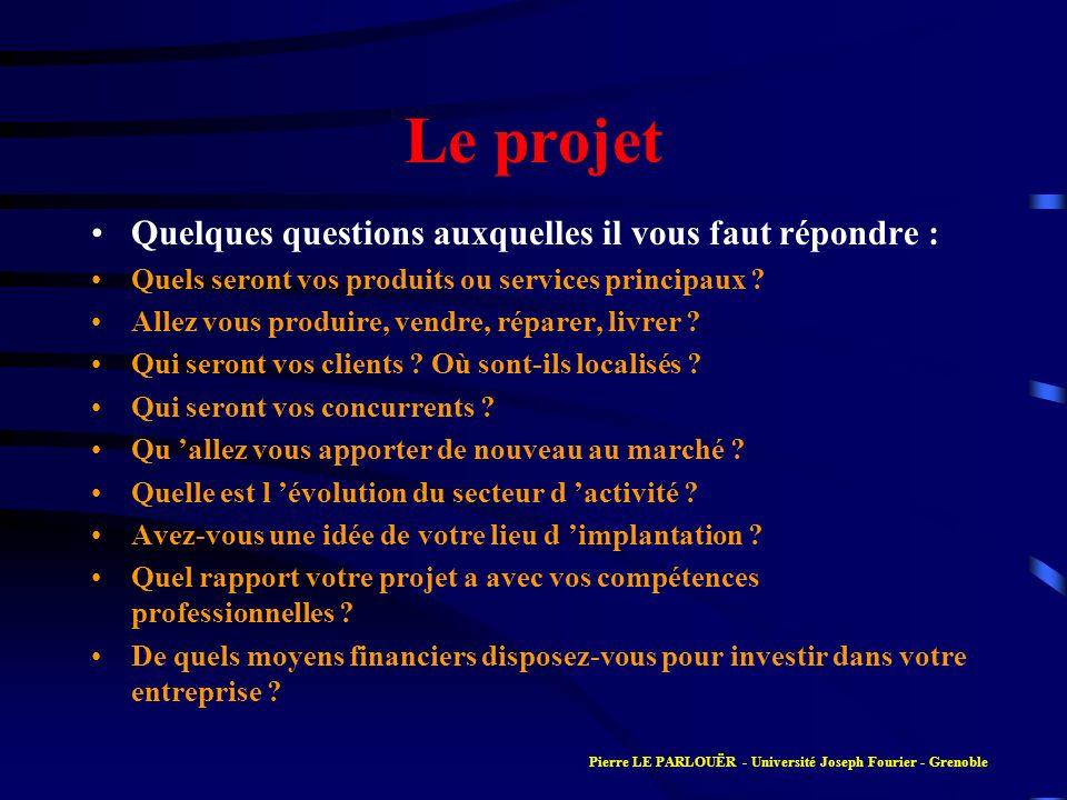 Le projet Quelques questions auxquelles il vous faut répondre : Quels seront vos produits ou services principaux ? Allez vous produire, vendre, répare