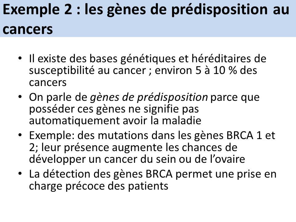 Exemple 2 : les gènes de prédisposition au cancers Il existe des bases génétiques et héréditaires de susceptibilité au cancer ; environ 5 à 10 % des c