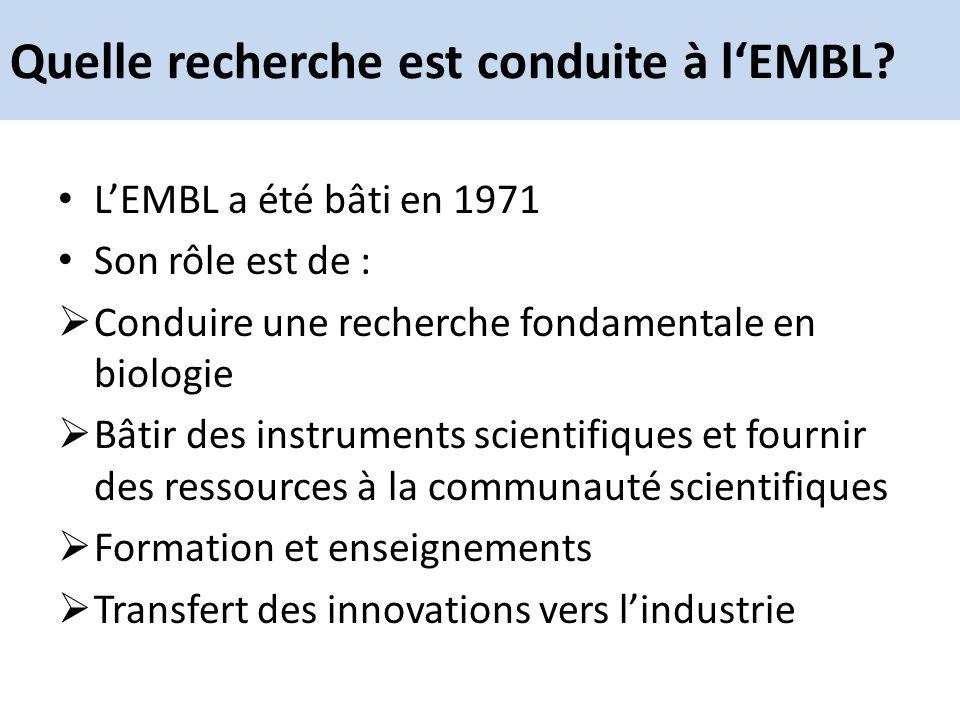 Quelle recherche est conduite à lEMBL? LEMBL a été bâti en 1971 Son rôle est de : Conduire une recherche fondamentale en biologie Bâtir des instrument