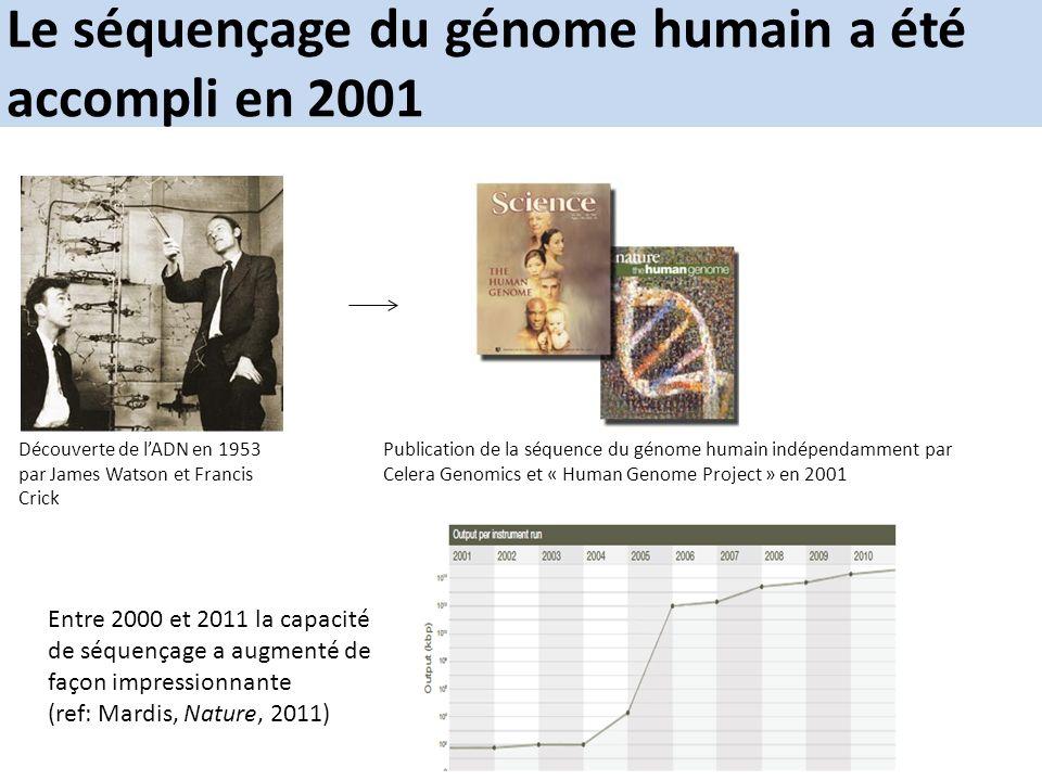 Le séquençage du génome humain a été accompli en 2001 Publication de la séquence du génome humain indépendamment par Celera Genomics et « Human Genome