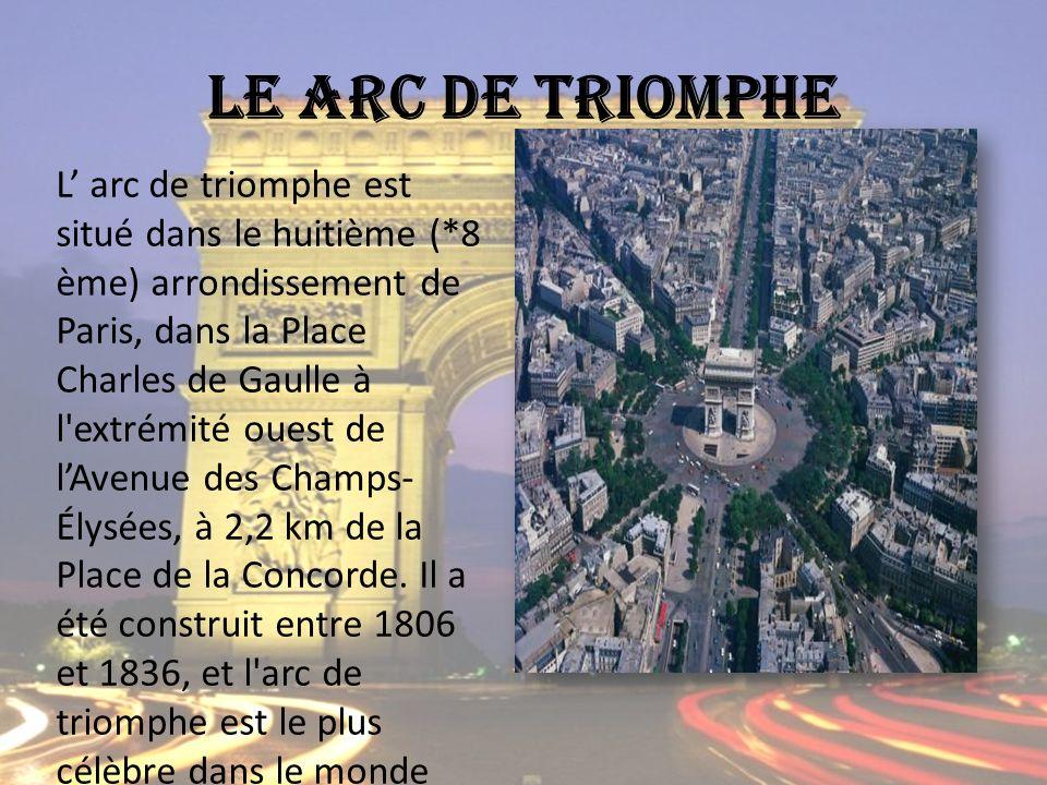 L arc de triomphe est situé dans le huitième (*8 ème) arrondissement de Paris, dans la Place Charles de Gaulle à l extrémité ouest de lAvenue des Champs- Élysées, à 2,2 km de la Place de la Concorde.