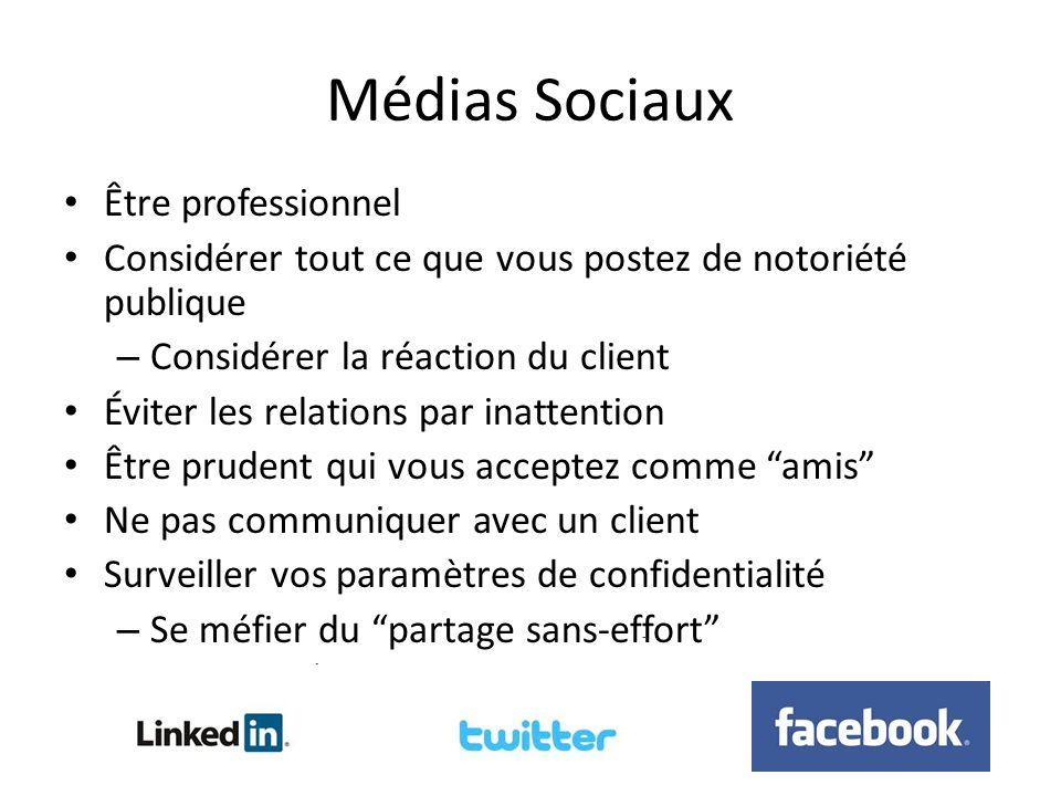 Médias Sociaux Être professionnel Considérer tout ce que vous postez de notoriété publique – Considérer la réaction du client Éviter les relations par