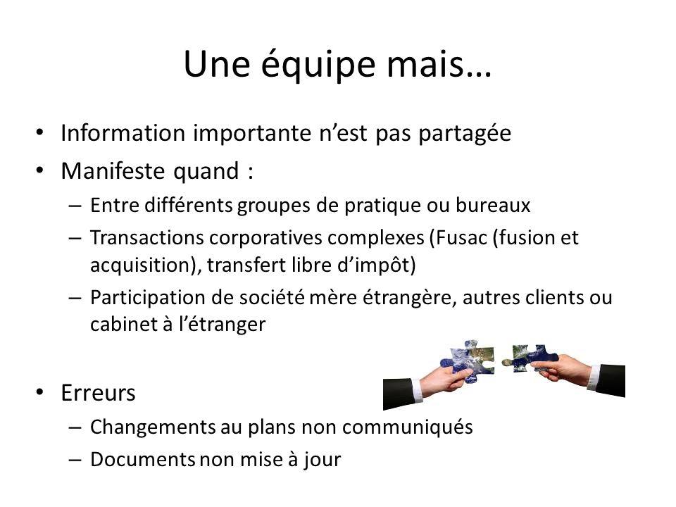 Une équipe mais… Information importante nest pas partagée Manifeste quand : – Entre différents groupes de pratique ou bureaux – Transactions corporati