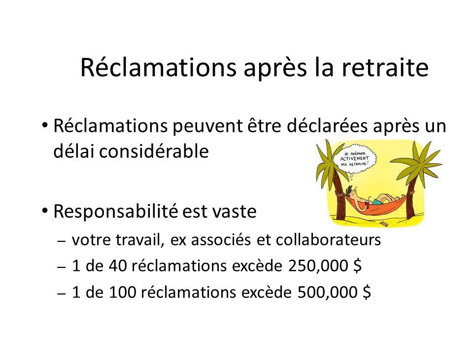 Réclamations après la retraite Réclamations peuvent être déclarées après un délai considérable Responsabilité est vaste – votre travail, ex associés e