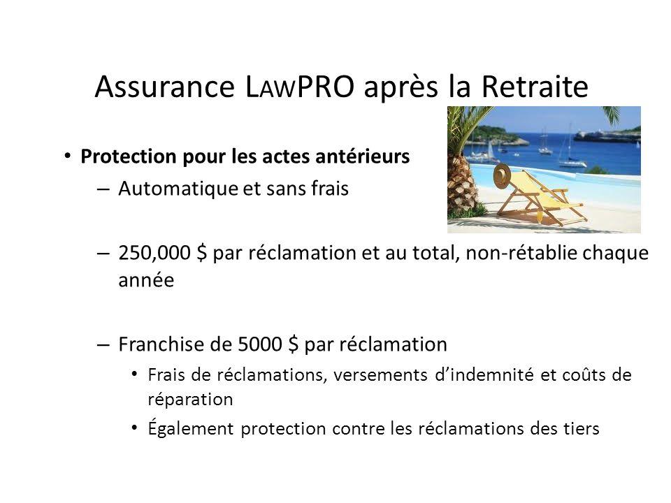 Assurance L AW PRO après la Retraite Protection pour les actes antérieurs – Automatique et sans frais – 250,000 $ par réclamation et au total, non-rét