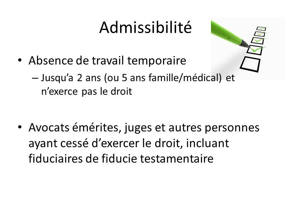 Admissibilité Absence de travail temporaire – Jusqua 2 ans (ou 5 ans famille/médical) et nexerce pas le droit Avocats émérites, juges et autres person