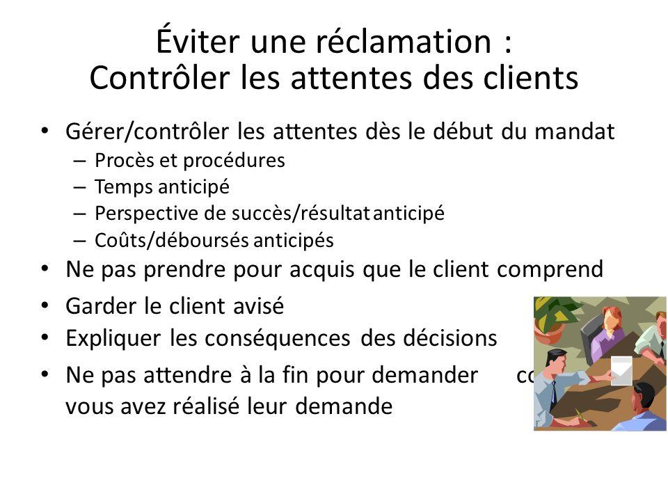 Éviter une réclamation : Contrôler les attentes des clients Gérer/contrôler les attentes dès le début du mandat – Procès et procédures – Temps anticip