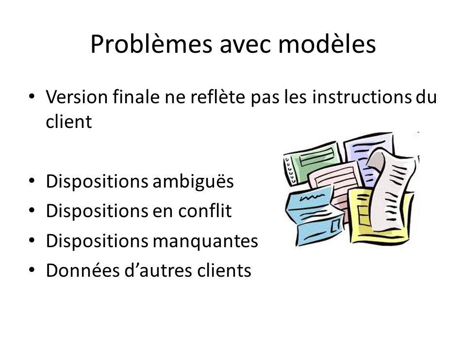Problèmes avec modèles Version finale ne reflète pas les instructions du client Dispositions ambiguës Dispositions en conflit Dispositions manquantes