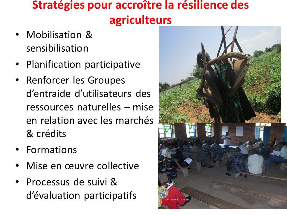 Stratégies pour accroître la résilience des agriculteurs Mobilisation & sensibilisation Planification participative Renforcer les Groupes dentraide du