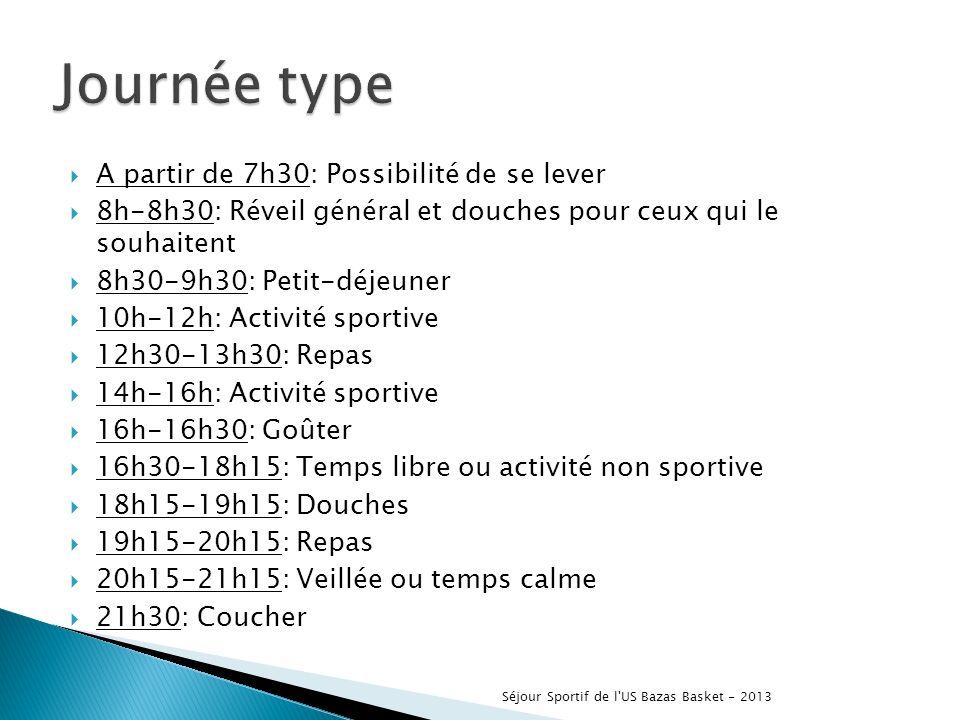 A partir de 7h30: Possibilité de se lever 8h-8h30: Réveil général et douches pour ceux qui le souhaitent 8h30-9h30: Petit-déjeuner 10h-12h: Activité sportive 12h30-13h30: Repas 14h-16h: Activité sportive 16h-16h30: Goûter 16h30-18h15: Temps libre ou activité non sportive 18h15-19h15: Douches 19h15-20h15: Repas 20h15-21h15: Veillée ou temps calme 21h30: Coucher Séjour Sportif de l US Bazas Basket - 2013