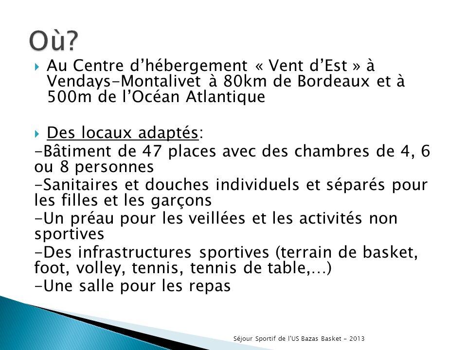 Au Centre dhébergement « Vent dEst » à Vendays-Montalivet à 80km de Bordeaux et à 500m de lOcéan Atlantique Des locaux adaptés: -Bâtiment de 47 places avec des chambres de 4, 6 ou 8 personnes -Sanitaires et douches individuels et séparés pour les filles et les garçons -Un préau pour les veillées et les activités non sportives -Des infrastructures sportives (terrain de basket, foot, volley, tennis, tennis de table,…) -Une salle pour les repas Séjour Sportif de l US Bazas Basket - 2013