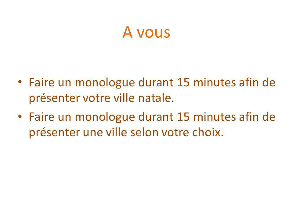 A vous Faire un monologue durant 15 minutes afin de présenter votre ville natale.