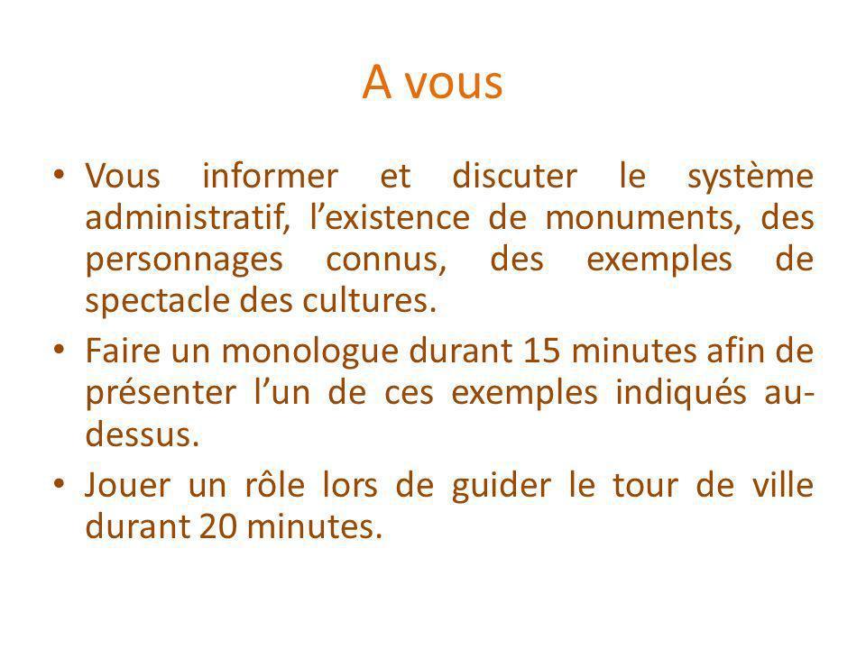 A vous Vous informer et discuter le système administratif, lexistence de monuments, des personnages connus, des exemples de spectacle des cultures.