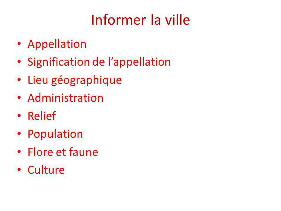 Informer la ville Appellation Signification de lappellation Lieu géographique Administration Relief Population Flore et faune Culture