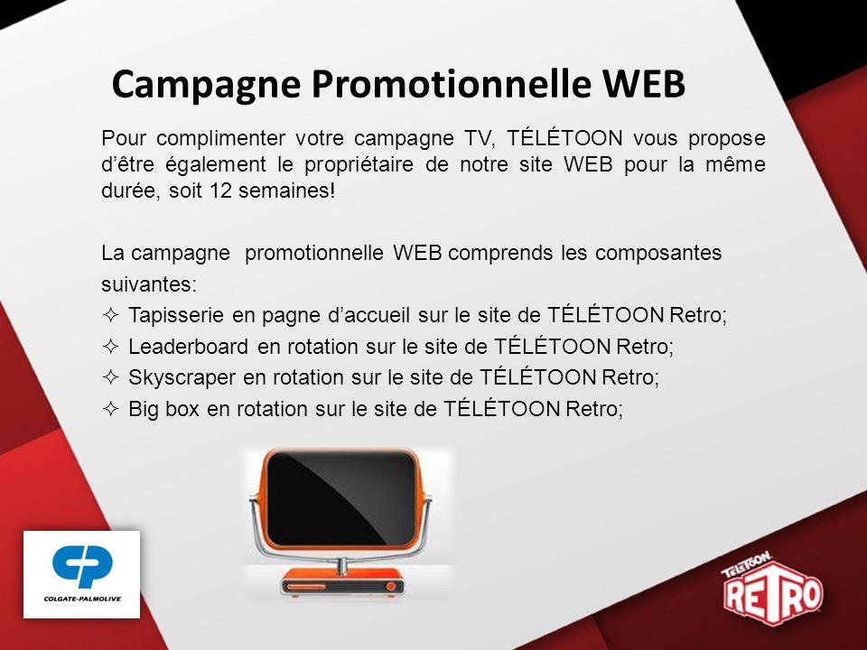 Campagne Promotionnelle WEB Pour complimenter votre campagne TV, TÉLÉTOON vous propose dêtre également le propriétaire de notre site WEB pour la même durée, soit 12 semaines.