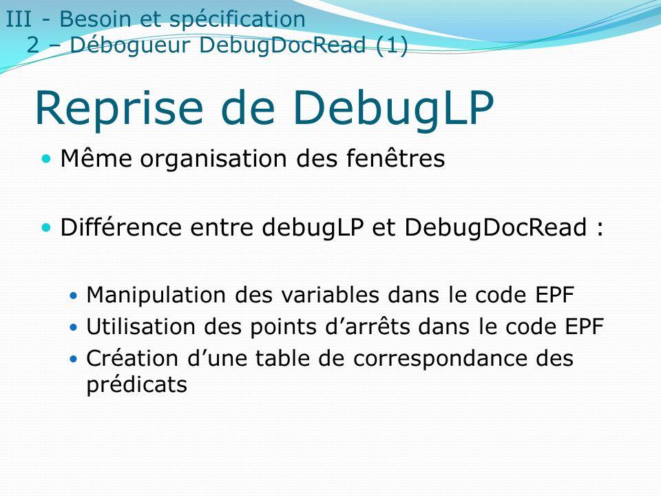Reprise de DebugLP Même organisation des fenêtres Différence entre debugLP et DebugDocRead : Manipulation des variables dans le code EPF Utilisation d