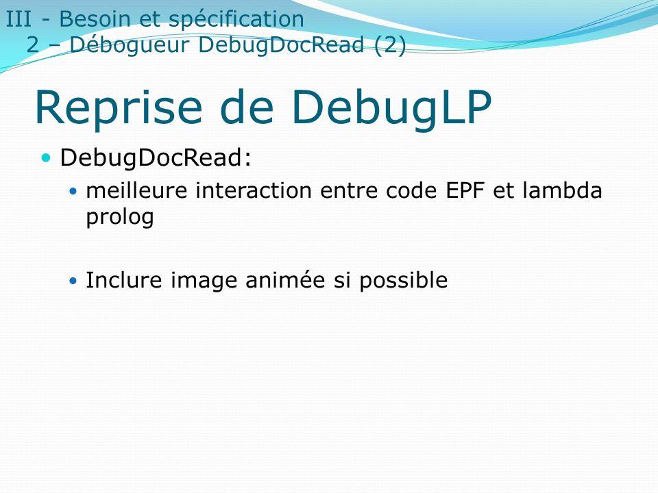 Reprise de DebugLP DebugDocRead: meilleure interaction entre code EPF et lambda prolog Inclure image animée si possible III - Besoin et spécification