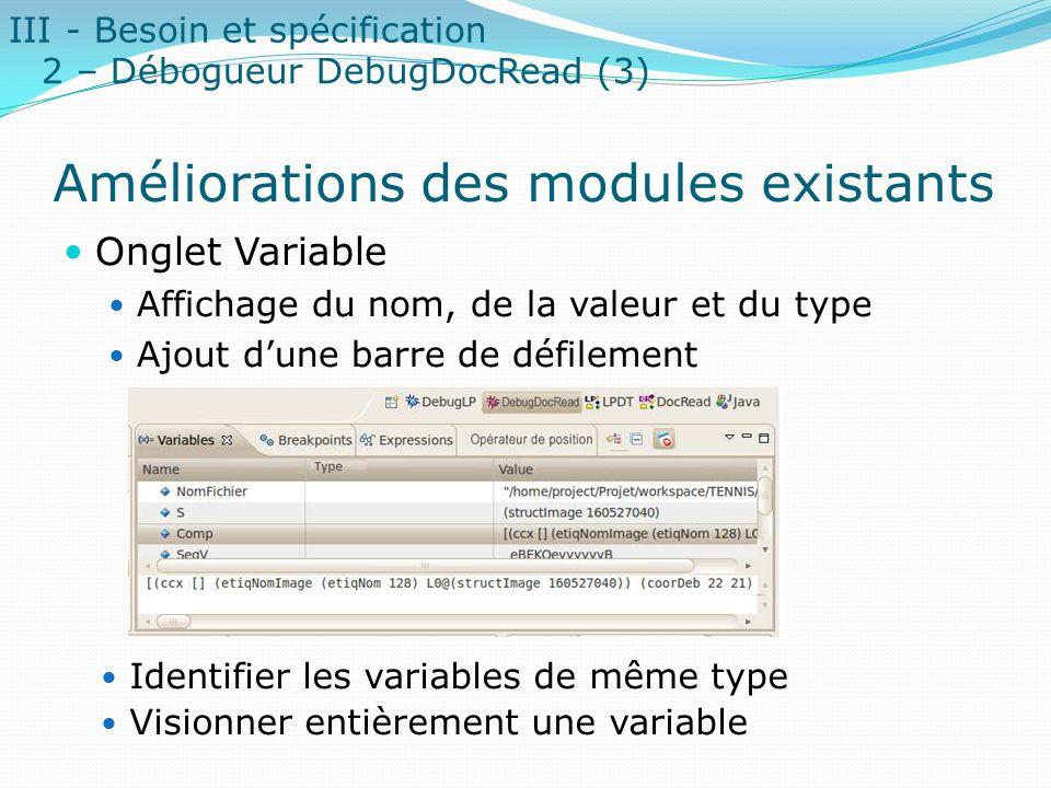 Améliorations des modules existants Onglet Variable Affichage du nom, de la valeur et du type Ajout dune barre de défilement Identifier les variables