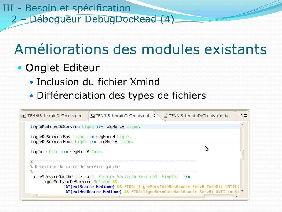 Améliorations des modules existants Onglet Editeur Inclusion du fichier Xmind Différenciation des types de fichiers III - Besoin et spécification 2 –