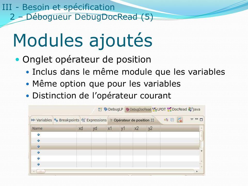 Modules ajoutés Onglet opérateur de position Inclus dans le même module que les variables Même option que pour les variables Distinction de lopérateur