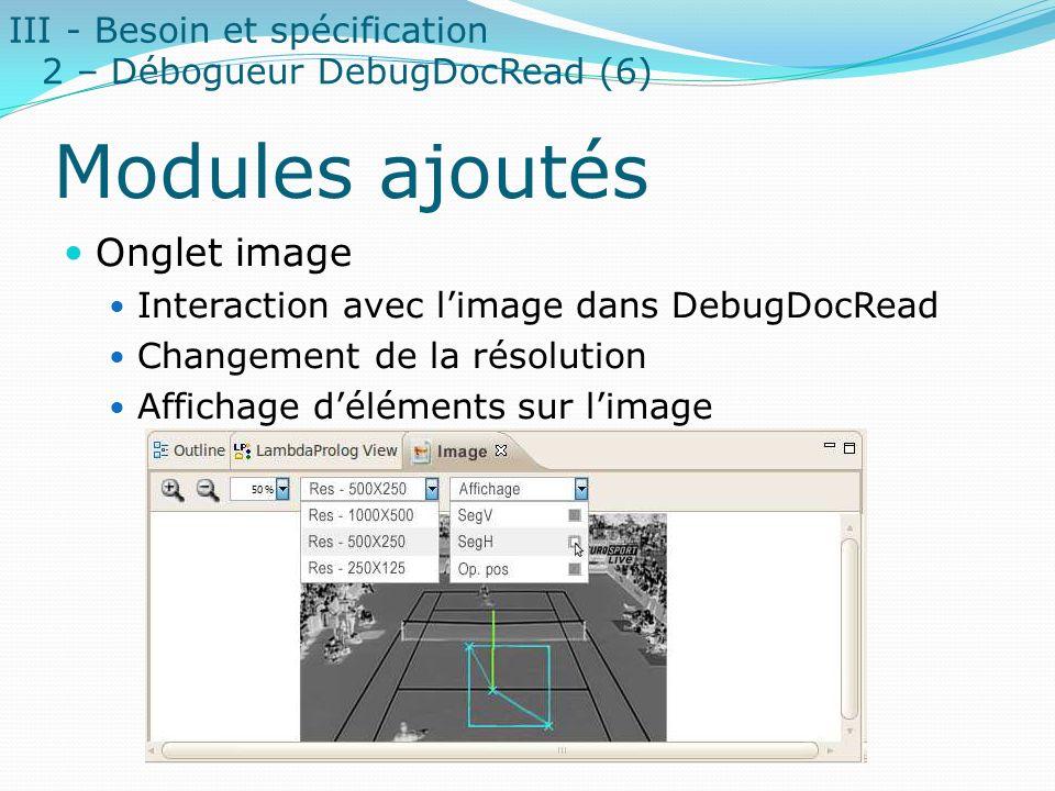 Modules ajoutés Onglet image Interaction avec limage dans DebugDocRead Changement de la résolution Affichage déléments sur limage III - Besoin et spéc