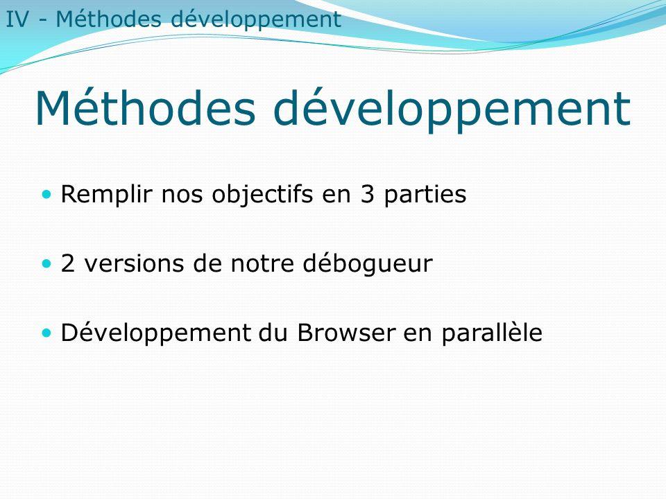 Méthodes développement Remplir nos objectifs en 3 parties 2 versions de notre débogueur Développement du Browser en parallèle IV - Méthodes développem