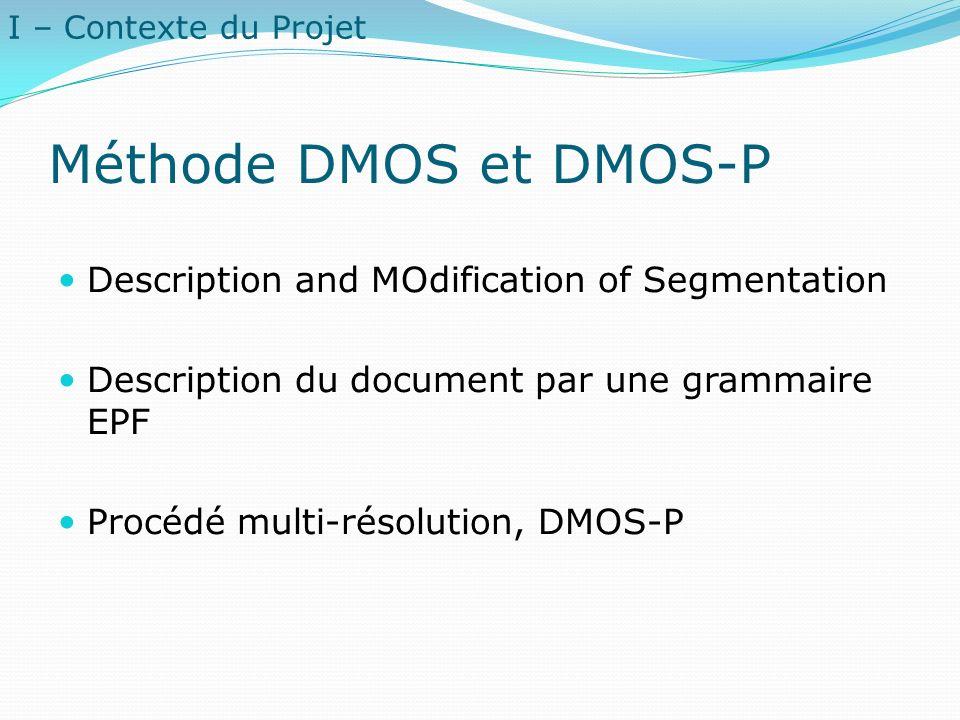 Méthode DMOS et DMOS-P Description and MOdification of Segmentation Description du document par une grammaire EPF Procédé multi-résolution, DMOS-P I –